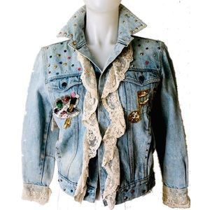 VTG. 80s STUDDED DENIM JACKET SEQUINS & LACE